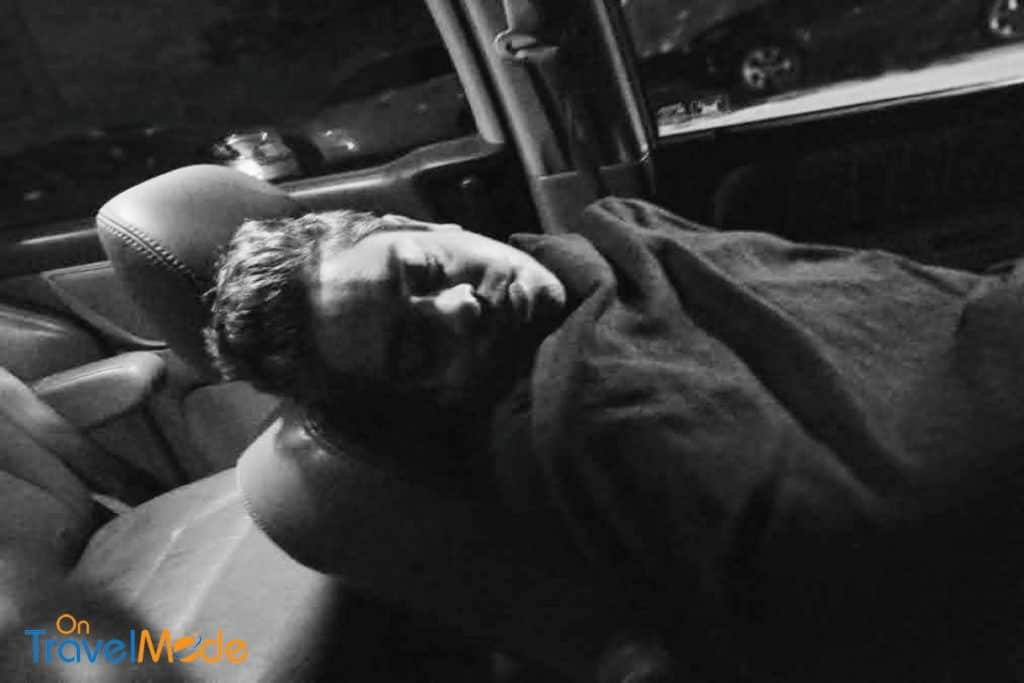 Pic of man sleeping inside car in NYC